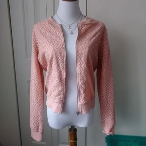 Pretty in pink lace crochet NWT spring jacket